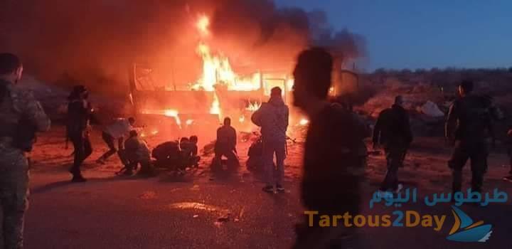 استشهاد 25 مواطناً في هجوم إرهابي على حافلتهم على الطريق بين دير الزور وتدمر بمنطقة كباجب